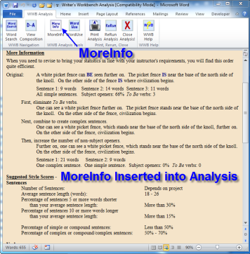 MoreInfo Inserted into Analysis